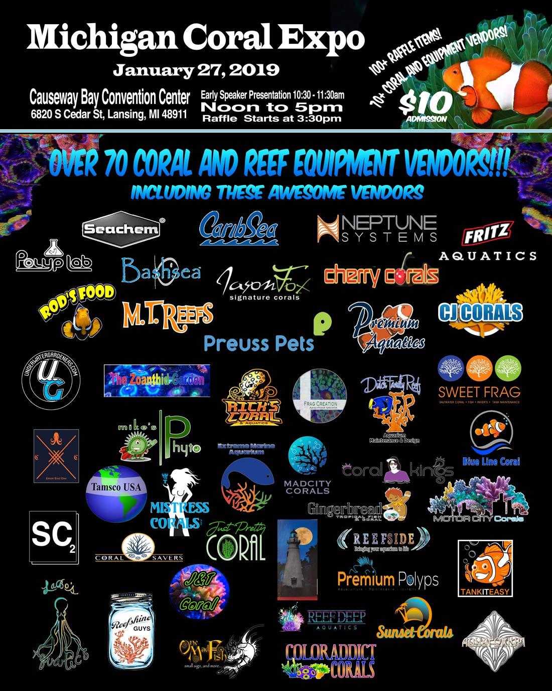 mce 2019 poster logos - Michigan Coral Expo - January 27, 2019 - Lansing, MI